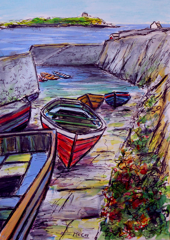 Sunny Day at Coliemore Harbour and Dalkey Island - SOLD